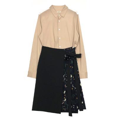 arranged color shirt & floral pleats wrap skirt